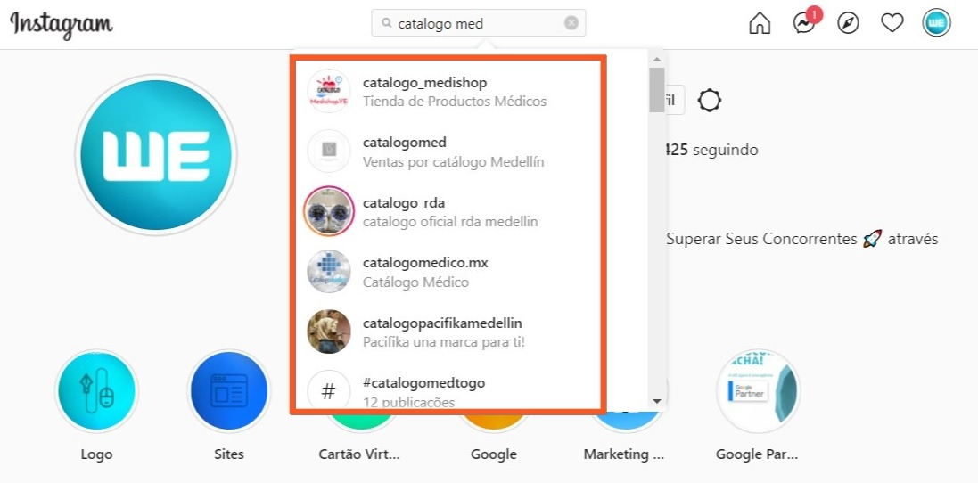 Catálogo Med - No Instagram