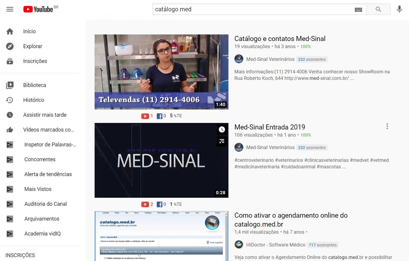 Catálogo Med - No YouTube
